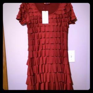 Tiered ruffle burgandy stretch dress by isle Nwt